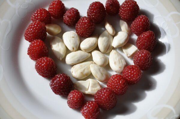 heart, almonds, raspberries